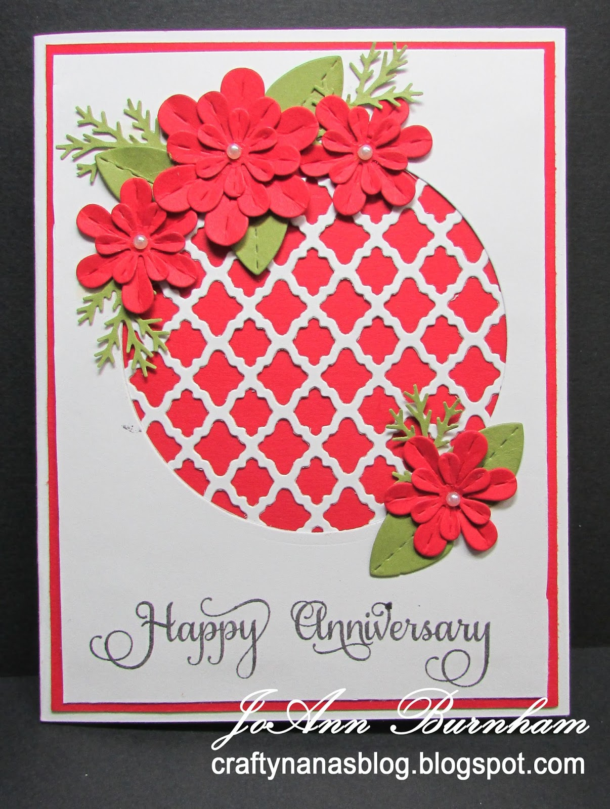 Crafty nanas blog more anniversary cards for this card i used su real red and old olive cs and corediations white heavy card the flowers and leaves are cut with lil inker designs perky posies kristyandbryce Images