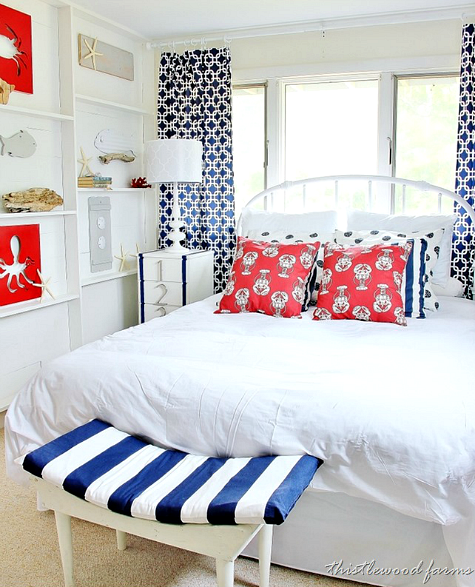 Nautical Bedroom With DIY Ledge Shelf Accent Wall
