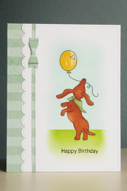 Happy Birthday Dachshund Card by Ka | Delightful Doxies stamp set by Newton's Nook Designs #newtonsnook #doxie