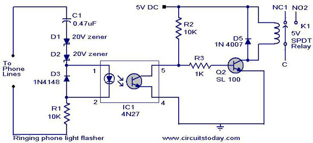 ringing phone light flasher simple electronic circuit diagram. Black Bedroom Furniture Sets. Home Design Ideas