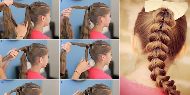 school girls braid hair style tutorial