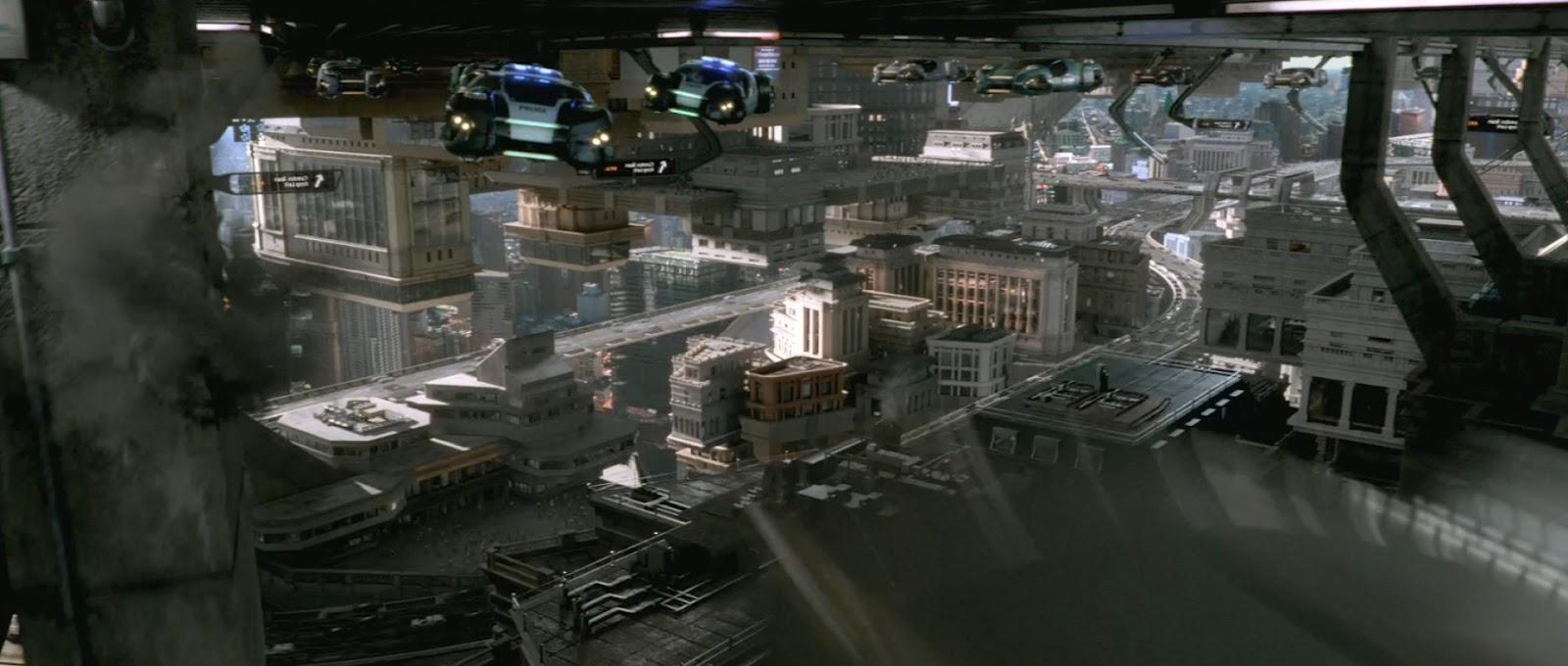 Un fotograma de Total Recall mostrando una panorámica de ciudad.