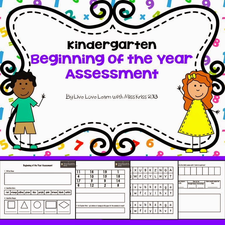 https://www.teacherspayteachers.com/Product/Kindergarten-Assessment-Beginning-of-the-Year-770192