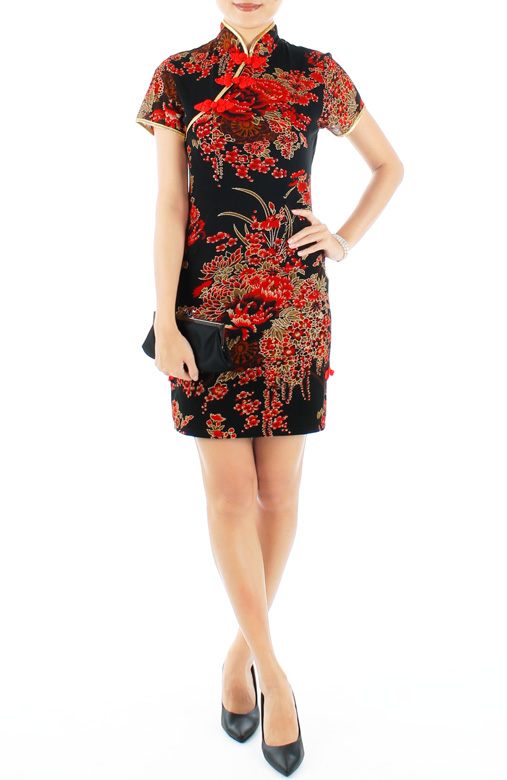 LUXE Oriental Spring Cheongsam with Sleeves in Phoenix Red