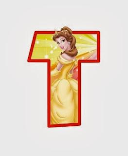 Alfabeto de personajes Disney con letras grandes T Bella.