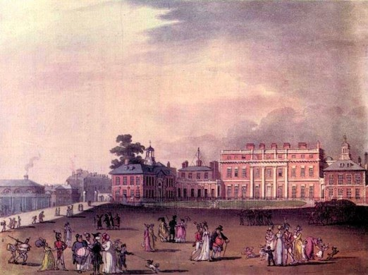 The Queen's Palace (Buckingham House), from The Microcosm of London (1808-10)