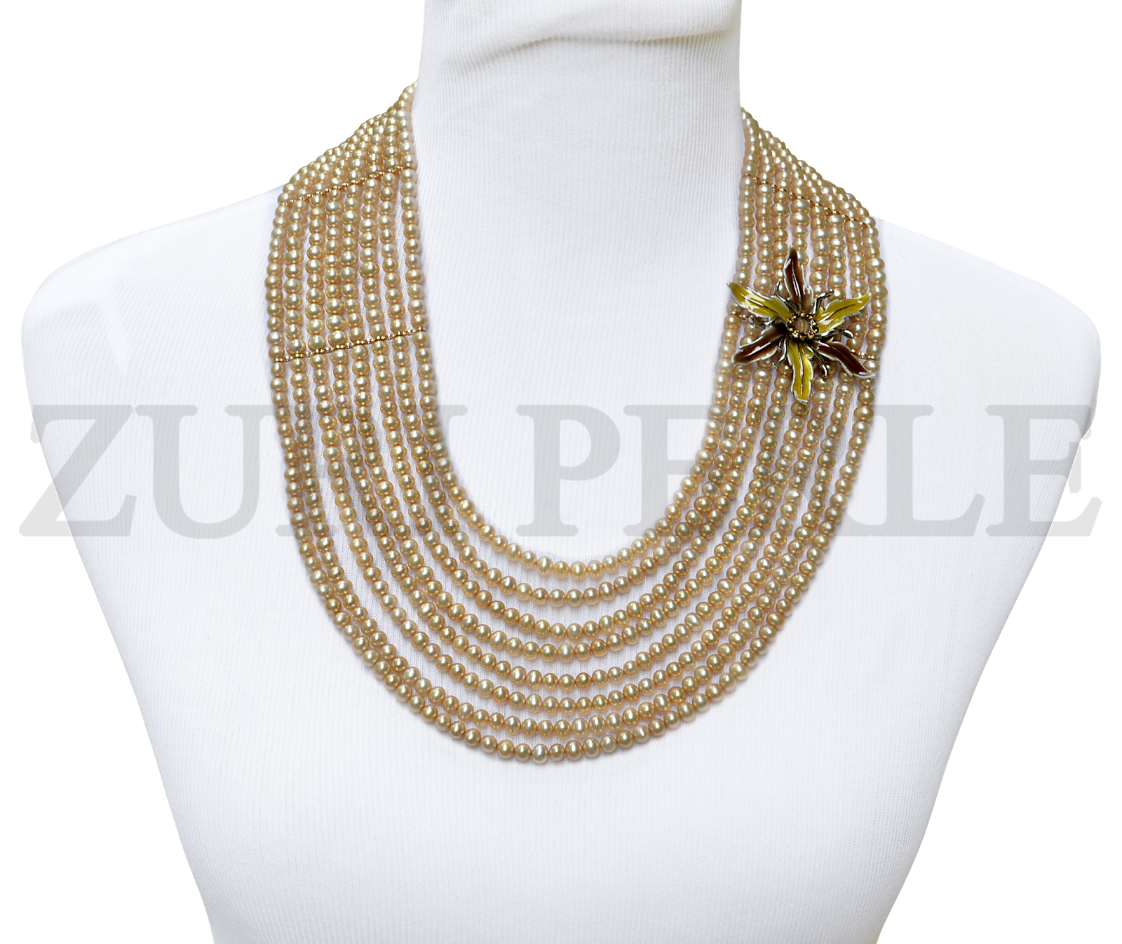 Champagne fresh water pearls Zuri Perle necklace earrings bracelet