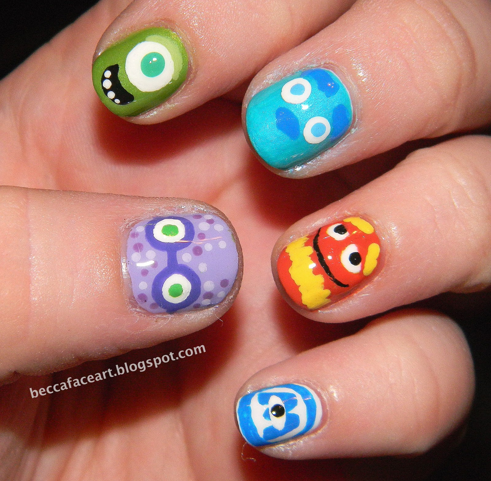 Becca Face Nail Art: Monsters University/Monsters, Inc. Nails!!