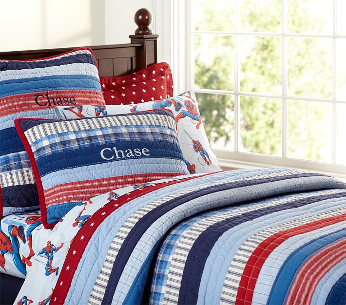 Pottery Barn Kids Patchwork Stripes Quilted Bedding | Decor Look ...