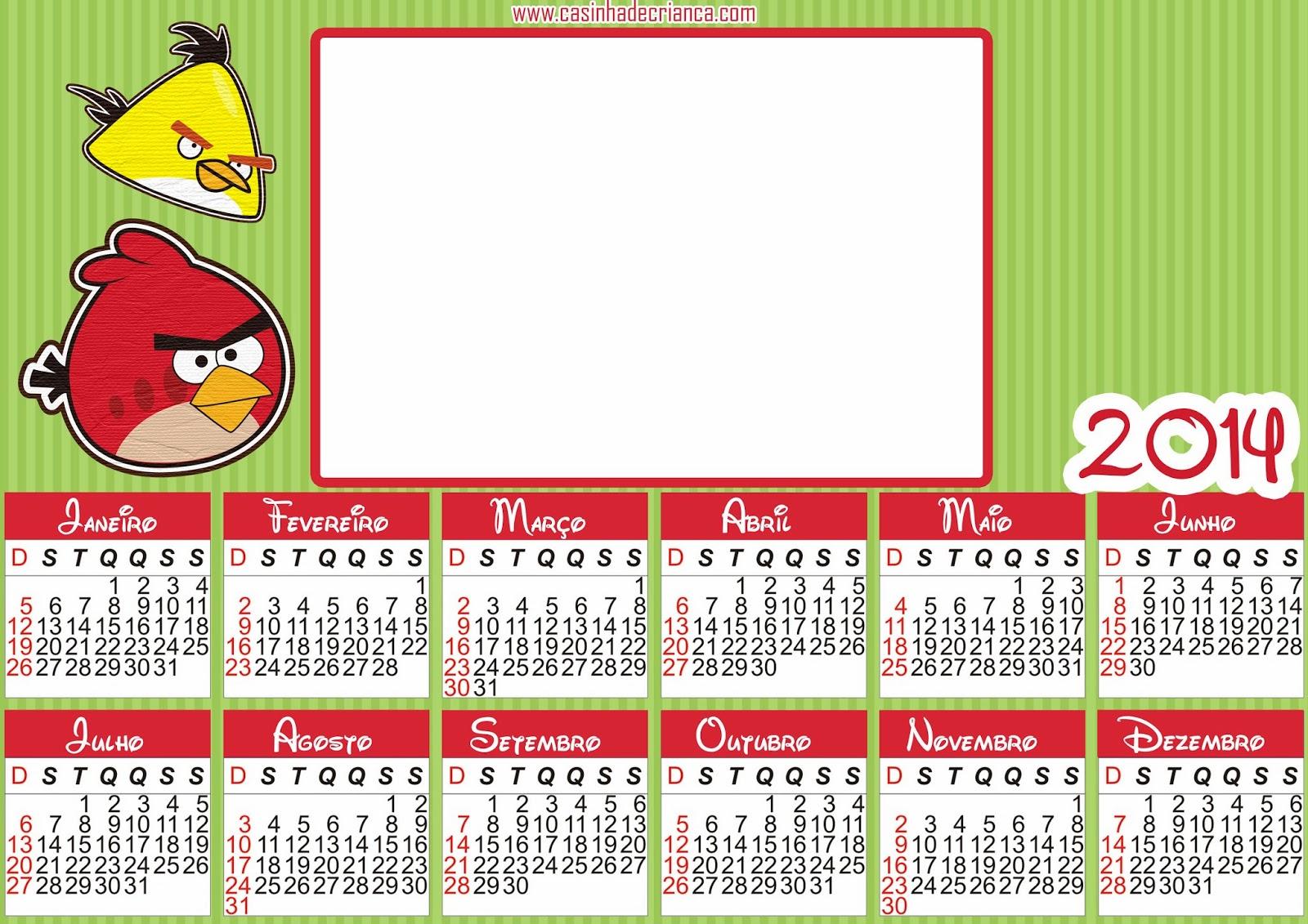 calendário angry birds 2014