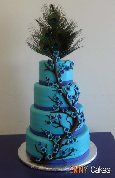 peacock feathers wedding cakes