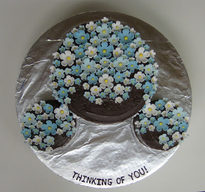 Thinking of You Cake with Blue Flowers - Overhead View