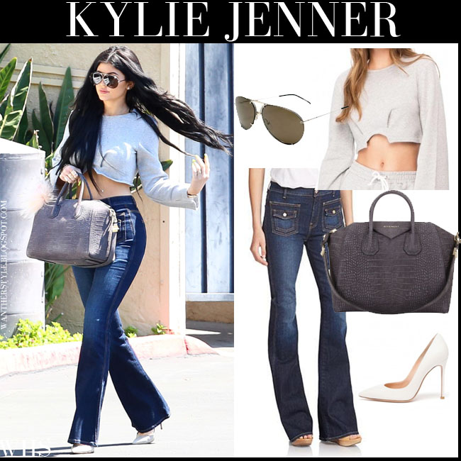 Kylie Jenner in grey cropped top, flared 7 for all mankind jeans and grey antigona tote july 6 what she wore streetstyle