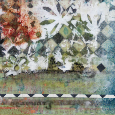 collage and texture on panel by Sandra Duran Wilson