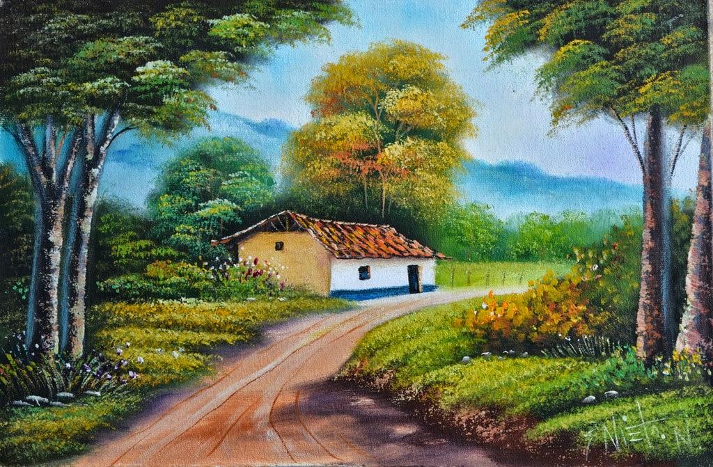 Cuadros modernos pinturas y dibujos paisajes decorativos - Paisajes de casas de campo ...