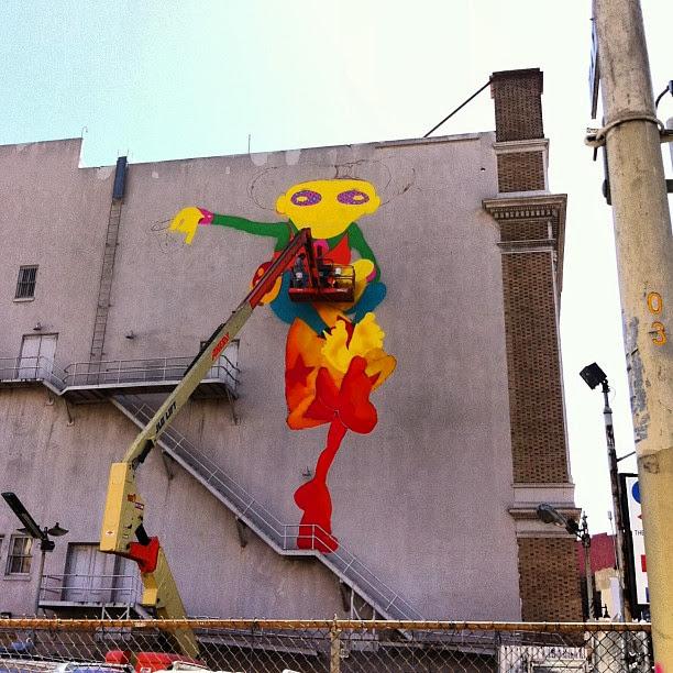 Work In Progress By Brazilian Street Artists Os Gemeos At Warfield Theatre In San Francisco. 3