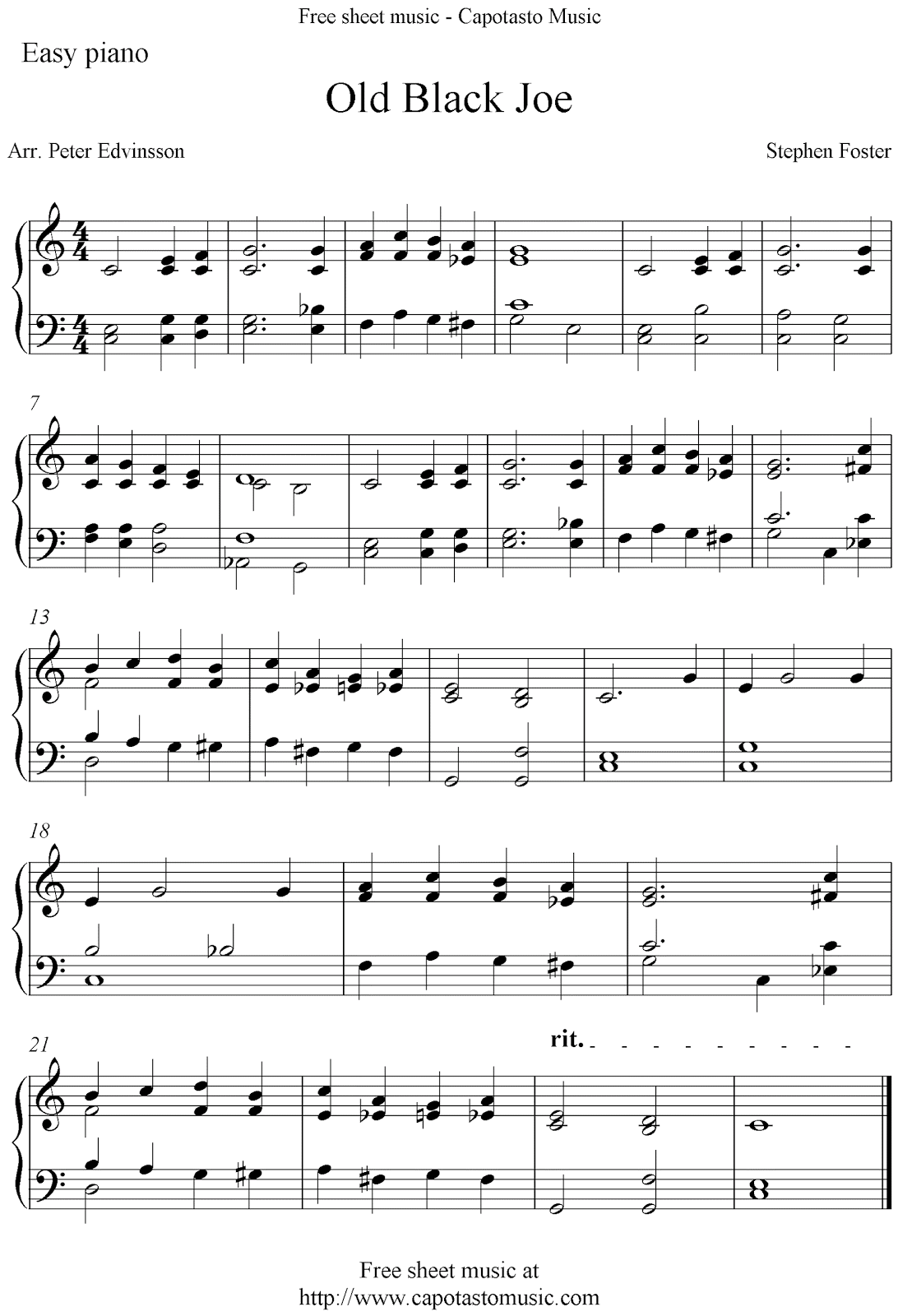 Easy free piano sheet music arrangement with the melody old black joe