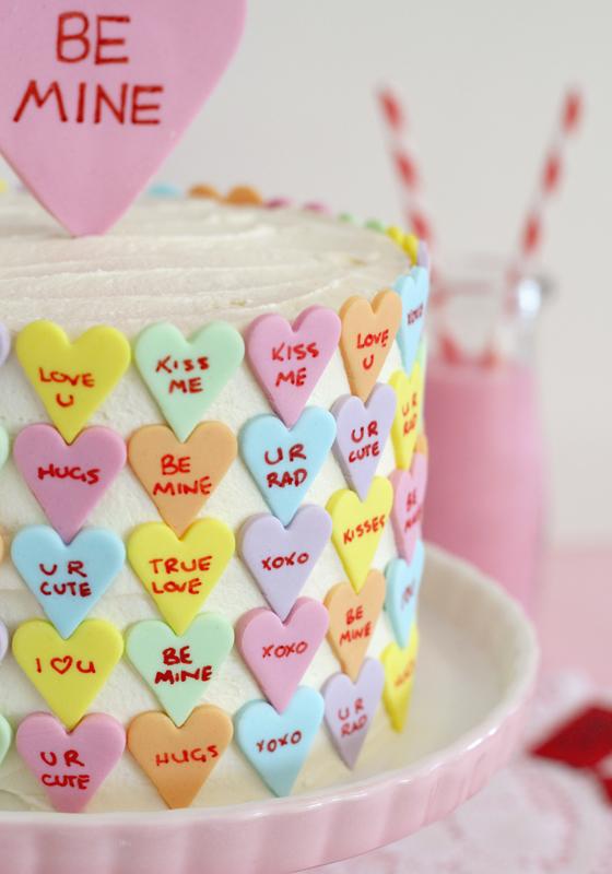Butter Hearts Sugar Conversation Heart Valentines Cake