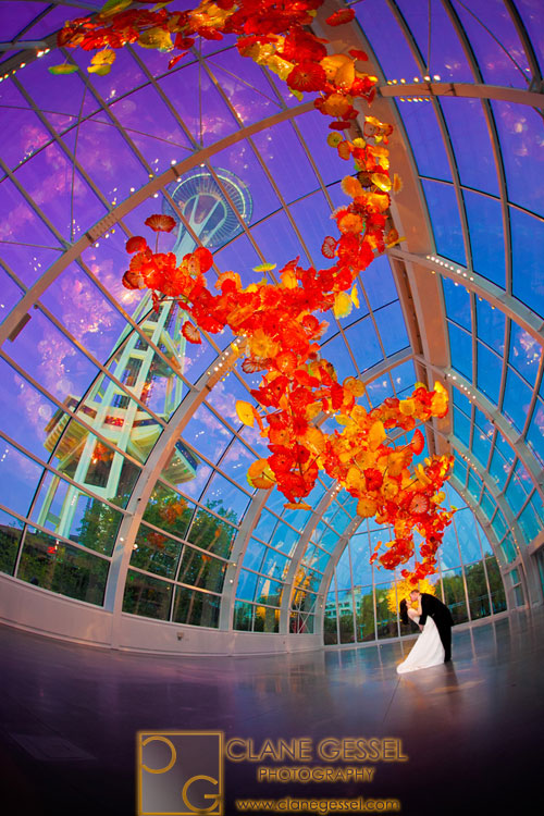 Chihuly Garden and Glass weddings seattle space needle