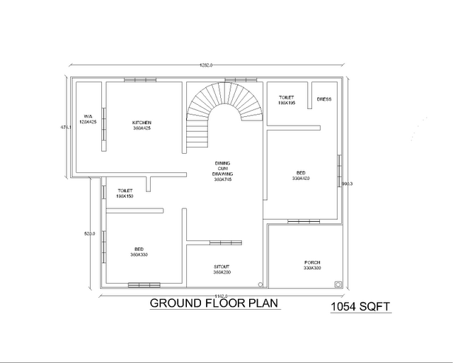 Two low cost 2bhk independent single story house plan 870 for 2 story villa floor plans