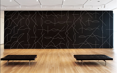 Michael Ovitz - Sol DeWitt wall drawing at MOMA