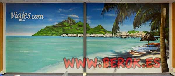 Graffiti mural de playa en oficina