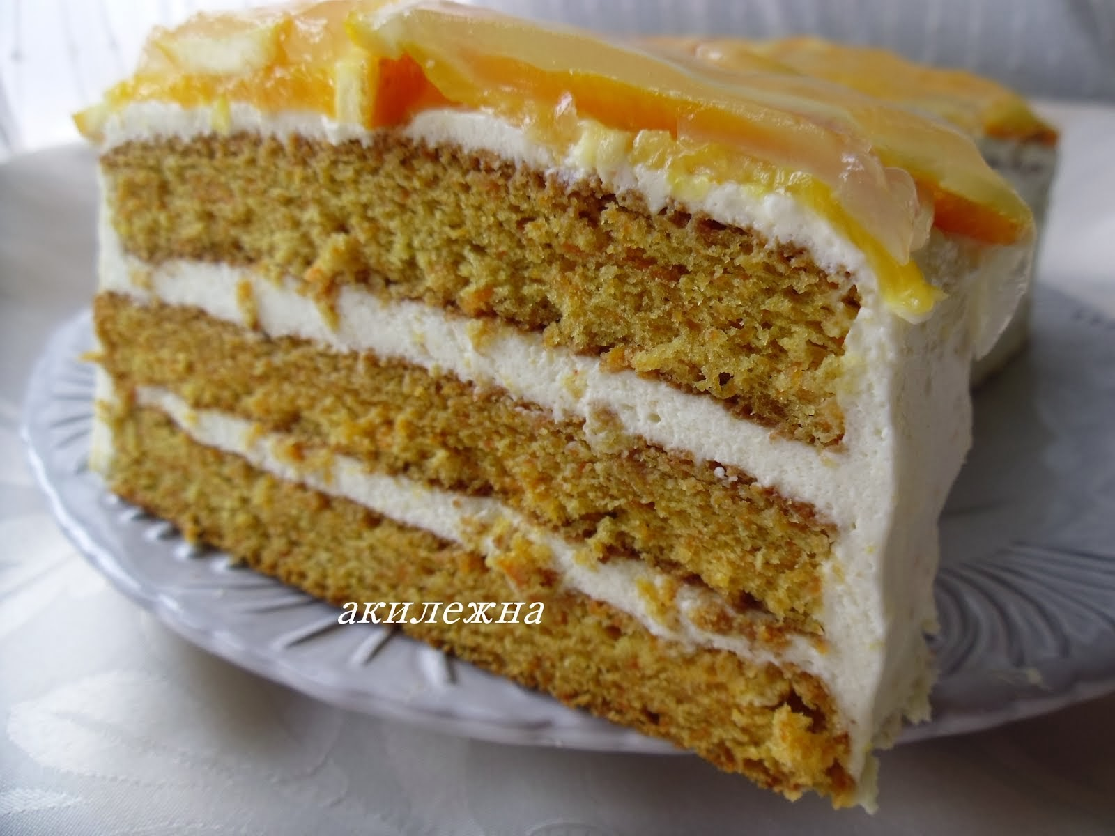 Морковный торт с апельсиновым суфле