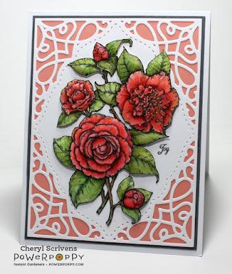 Power Poppy, Camellias, Digital Image, CherylQuilts, Designed by Cheryl Scrivens