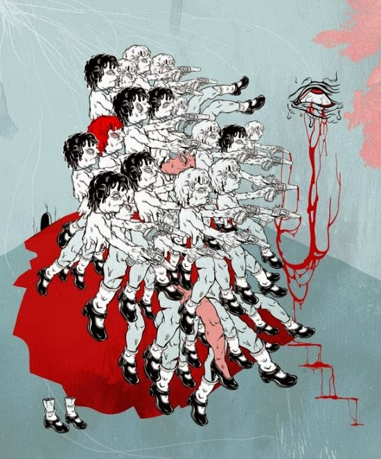 Elif Varol Ergen illustrations bizarre grotesque violence children abuse blood monsters