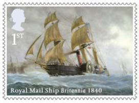 Stamp showing Royal Mail Ship Britannia 1840.