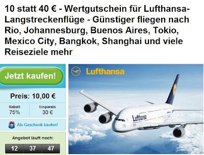 Groupon: Lufthansa-Gutschein für Langstreckenflüge im Wert von 40€ zum Preis von 10€