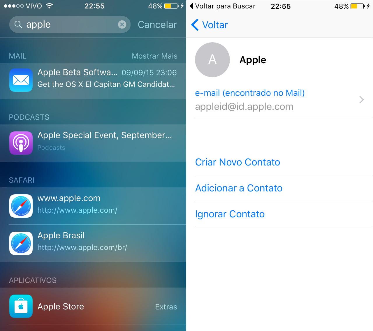Buscas dentro de apps - Siri