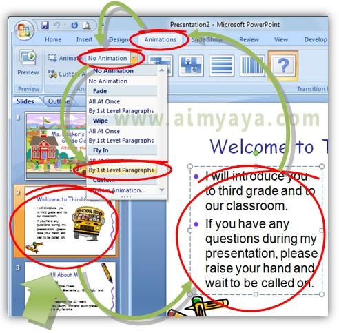 Gambar:  Cara membuat animasi teks/tulisan di slide presentasi powerpoint