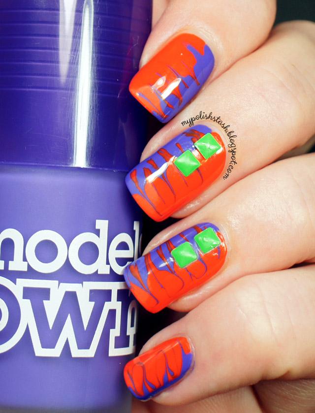 drag marble nail design orange purple
