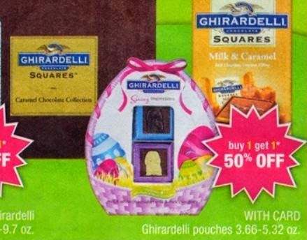 image regarding Ghirardelli Printable Coupon titled Quickly CVS: $1 Ghirardelli Easter Sweet Printable Coupon