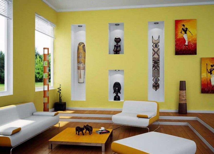 model cat ruang tamu warna kuning terlihat indah