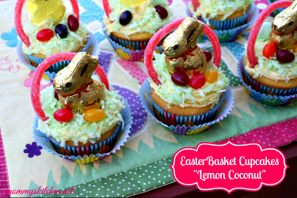 easter basket cupcakes {lemon coconut}