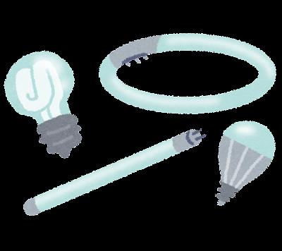 蛍光灯のイラスト「丸型・直管・電球」(照明)