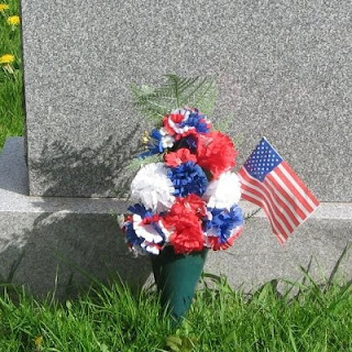 Red White and Blue Cemetery Cone