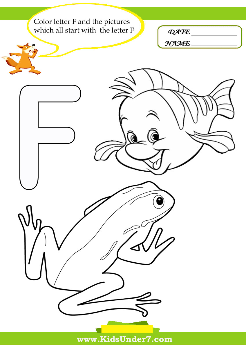 kids under 7 letter f worksheets and coloring pages