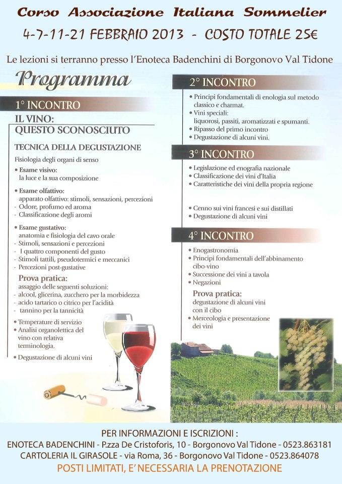 programma del mini corso di degustazione vini associazione italiana sommelier