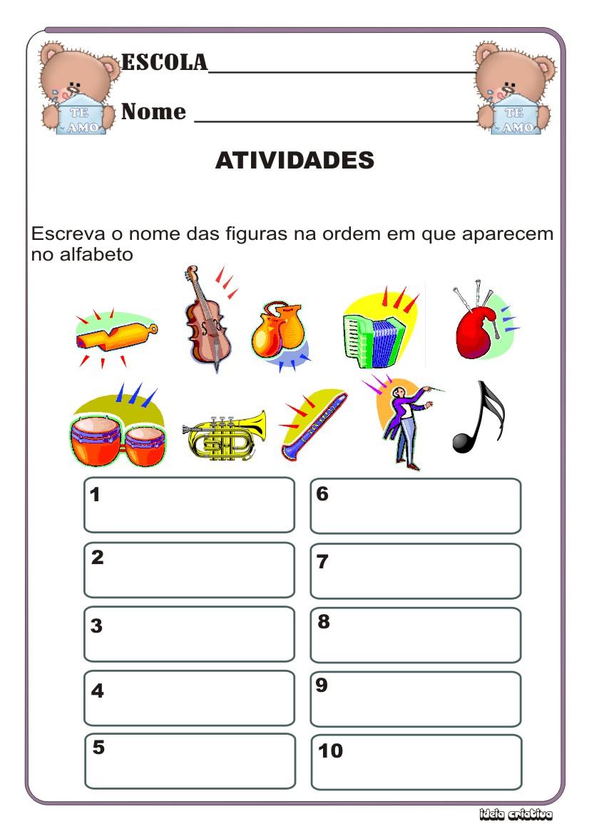 Atividade Ordem Alfabética Instrumentos Musicais