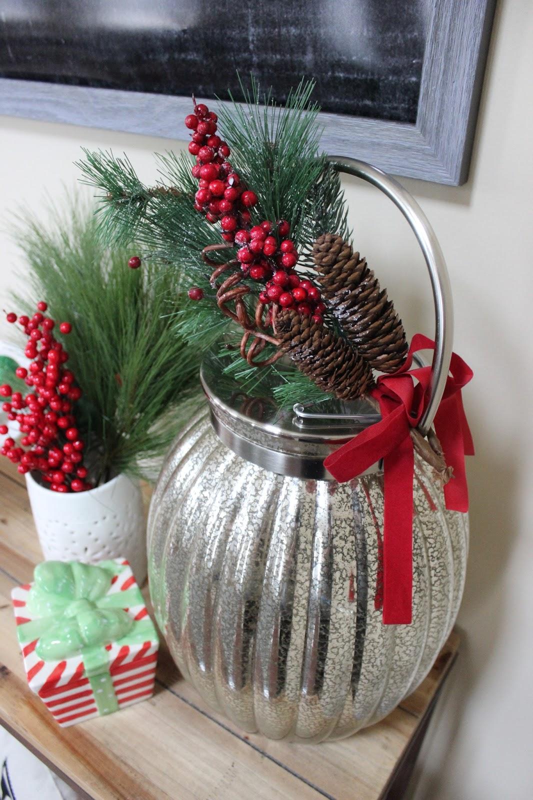 Christmas Mercury Glass Lantern
