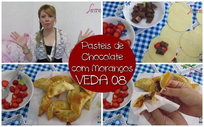 pasteis de morango com chocolate, pastel sensação, crepe de chocolate com mornago, tortinhas, sobremesa, doces, receita