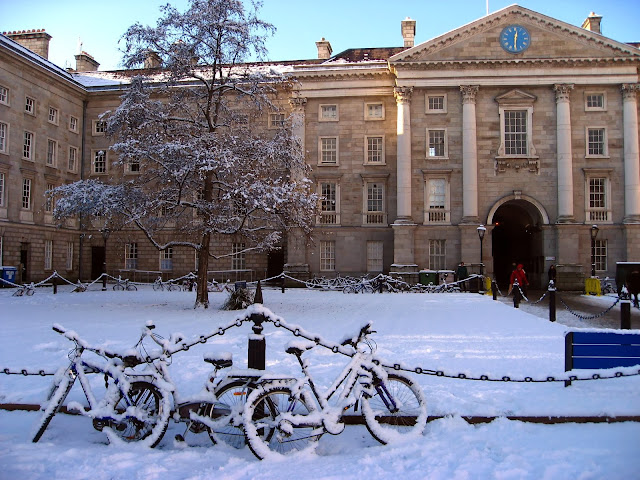 Trinity College bicycles on a snowy winter day, Dublin, Ireland
