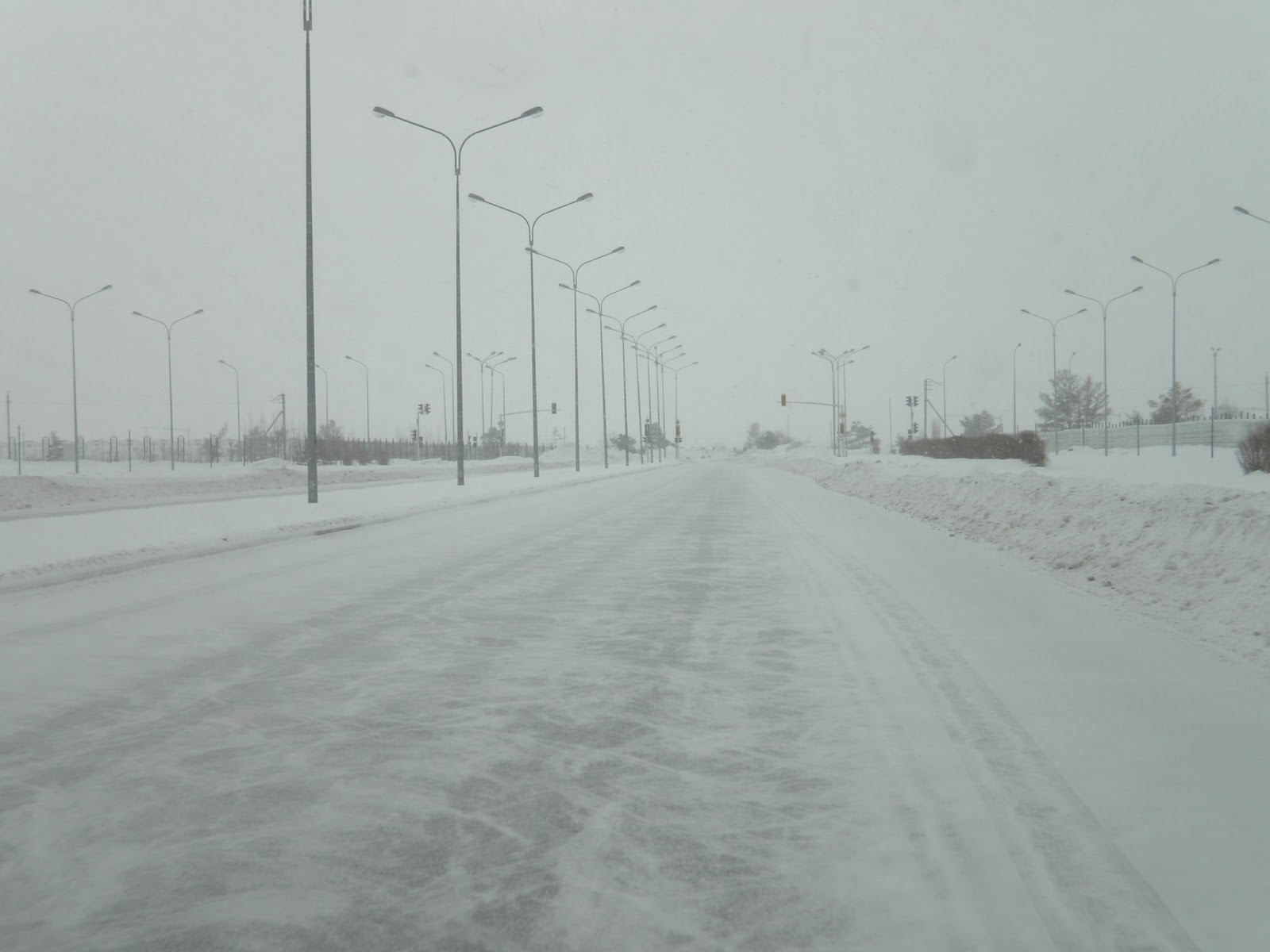 Astana Road in snow