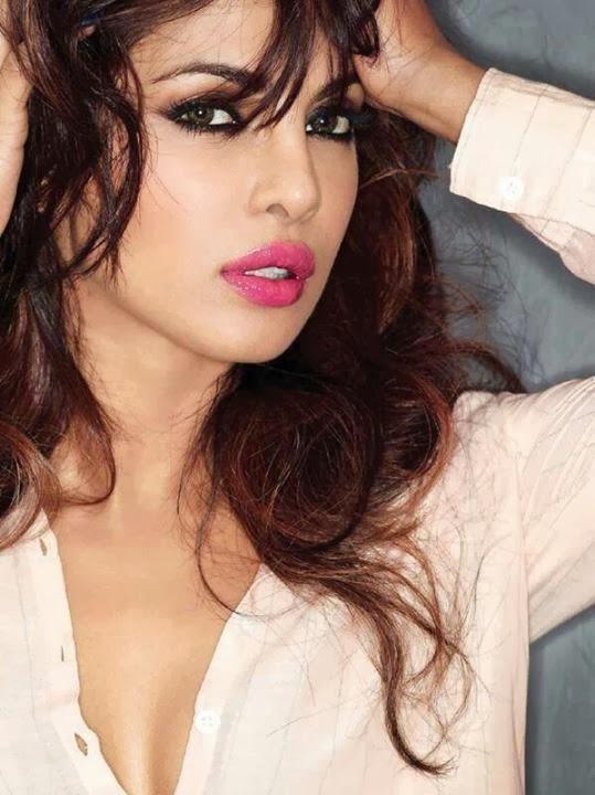 Priyanka Chopra in pink shirt in Maxim Magazine