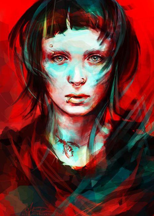 Alice X. Zhang alicexz deviantart pinturas de filmes séries Rooney Mara como Lisbeth Salander