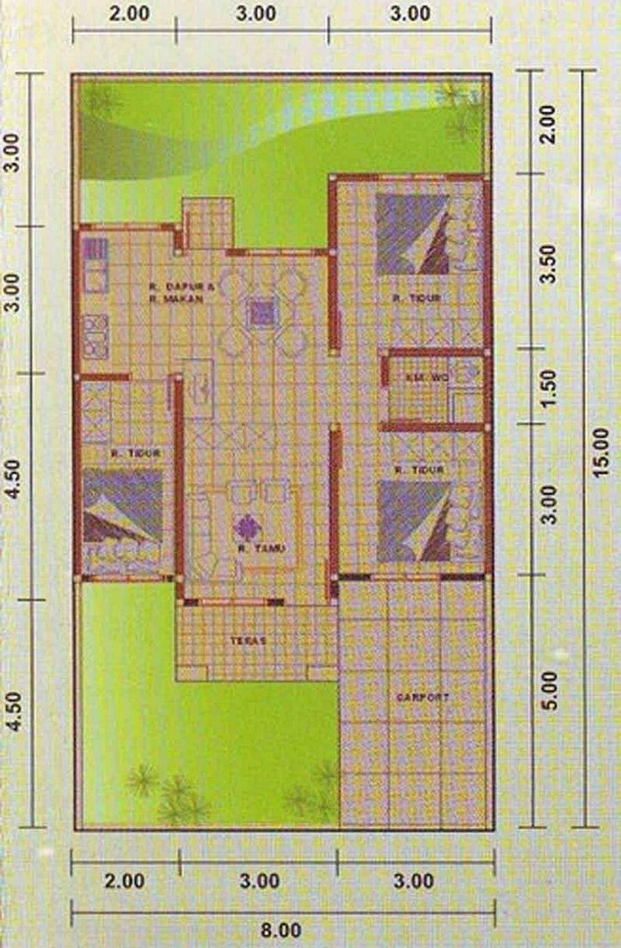 contoh denah 3 kamar tidur 8x15 yang bagus