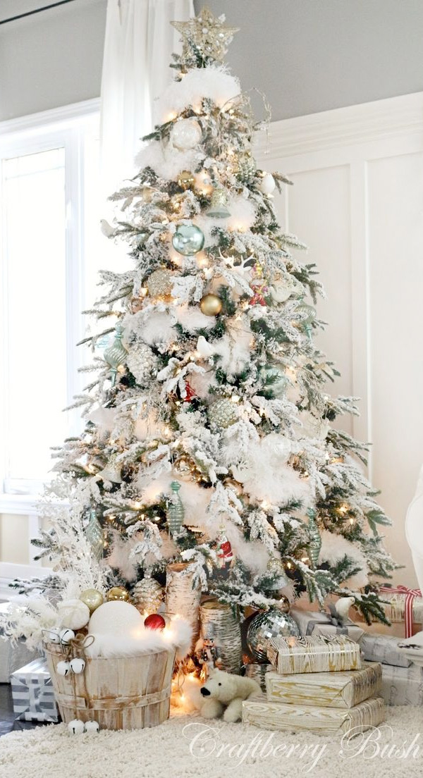 Flocked christmas tree love it or leave it julia ryan whats your verdict i for one absolutely love it im not sure i could do it as our main tree but this would be an awesome addition to the playroom or solutioingenieria Images